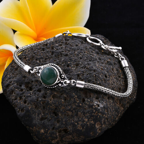 Royal Bali Collection - Australian Chrysoprase Tulang Naga Bracelet (Size 8 with Extender) in Sterling Silver 3.51 Ct, Silver wt 9.27 Gms