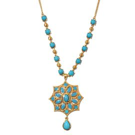 AA Arizona Sleeping Beauty Turquoise Enamelled Floral Necklace (Size 18) in 14K Gold Overlay Sterlin