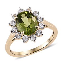 Chinese Peridot (1.90 Ct),Cambodian Zircon 9K Y Gold Ring  2.750  Ct.