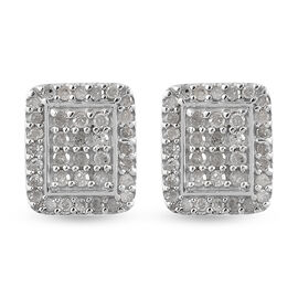 Diamond (Rnd) Stud Earrings (with Push Back) in Platinum Overlay Sterling Silver 0.52 Ct.