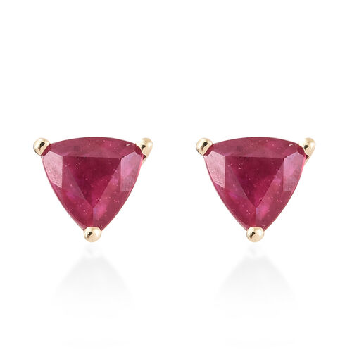One Time Deal- 9K Yellow Gold AAA African Ruby (Trl) Stud Earrings (with Push Back) 1.250 Ct.