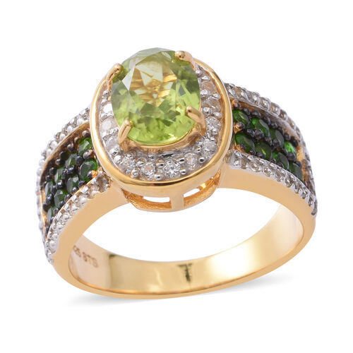 Hebei Peridot (Ovl 2.03 Ct), Natural Cambodian White Zircon and Russian Diopside Ring in Yellow Gold, Rhodium and Black Overlay Sterling Silver 3.350 Ct, Silver wt 6.25 Gms