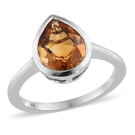 79K White Gold AA Citrine (Pear 1.75 Ct) Solitaire Ring 1.750 Ct.