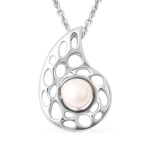 RACHEL GALLEY - Freshwater Pearl Pendant with Chain (Size 30) in Rhodium Overlay Sterling Silver, Si