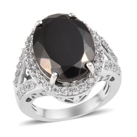 6.75 Ct Elite Shungite and Cambodian Zircon Halo Ring in Platinum Plated Sterling Silver