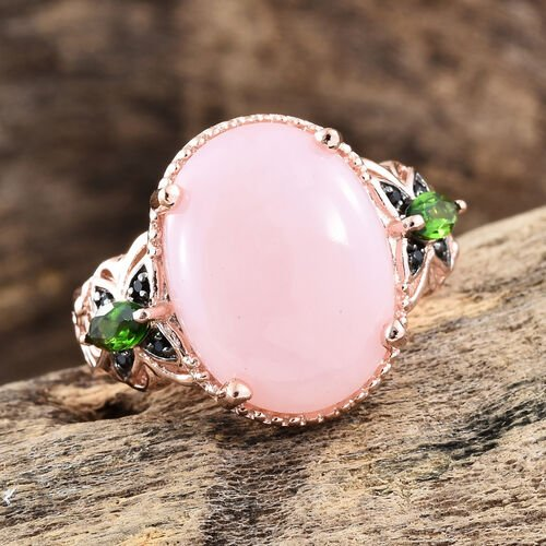 GP Peruvian Pink Opal (Ovl 6.00 Ct), Russian Diopside, Kanchanaburi Blue Sapphire and Boi Ploi Black Spinel Ring in Rose Gold Overlay Sterling Silver 6.500 Ct.