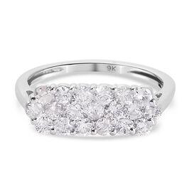 9K White Gold SGL Certified Diamond (I3/G-H) Pressure Set Boat Ring 1.01 Ct.