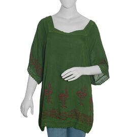 New Season - Floral Printed Swing Top (81 X 67 cms) - Green