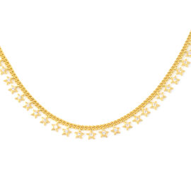 ELANZA Simulated Diamond Necklace (Size 16.5 with 2 inch Extender) in Yellow Gold Overlay Sterling S
