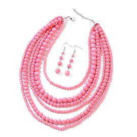 2 Piece Set - Pink Howlite Multi Row Necklace (Size 18 with 2 inch Extender) and Hook Earrings in Si
