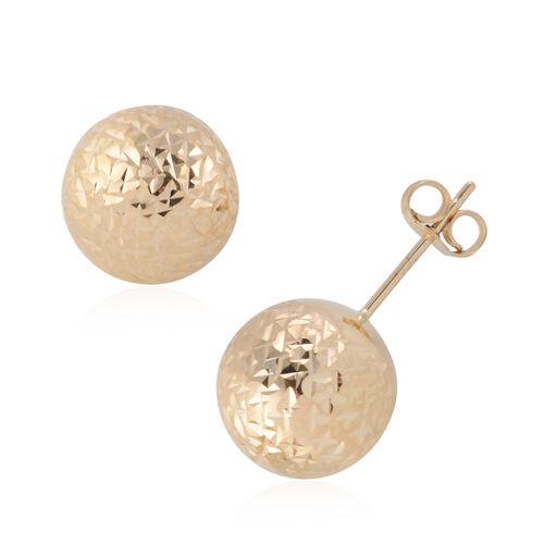 JCK Vegas Diamond Cut Texture Ball Stud Earrings in 9K Gold