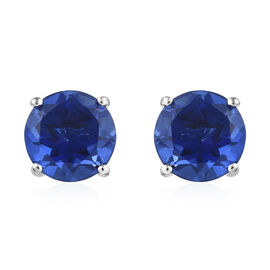 Ceylon Blue Quartz (Rnd) Stud Earrings (with Push Back) in Platinum Overlay Sterling Silver 8.250 Ct