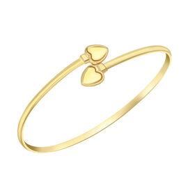 9K Yellow Gold Heart Flexible Bangle (Size 7), Gold wt 3.45 Gms