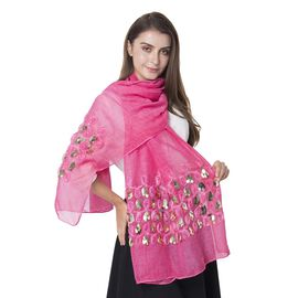 Designer Inspired- Pink Colour Rose Pattern Shawl with Golden Colour Sequin (Size 182x68.5 Cm)