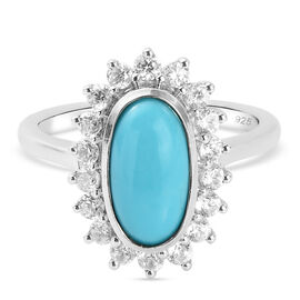 Arizona Sleeping Beauty Turquoise and Natural Cambodian Zircon Ring in Platinum Overlay Sterling Sil