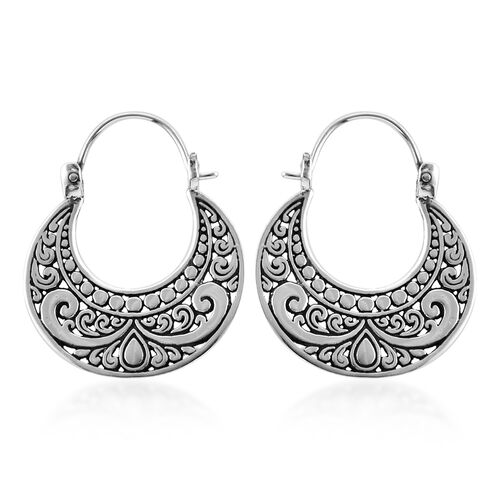 Royal Bali Collection Sterling Silver Crescent Moon Hoop Earrings (with Clasp)