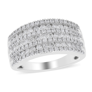 NY Close Out Deal - 10K White Gold Natural Diamond (I1/ G-H) Ring 1.01 Ct, Gold wt 5.10 Gms.