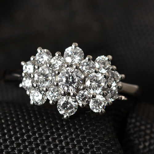 RHAPSODY 950 Platinum Diamond (Rnd) (VS/E-F) Cluster Ring 1.000 Ct.