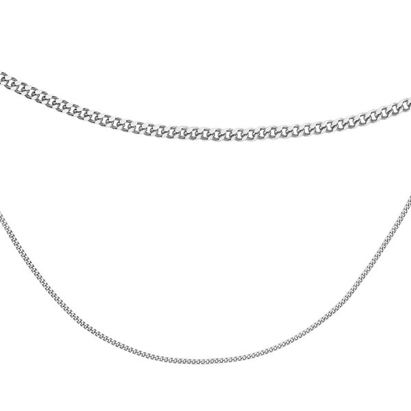Sterling Silver Adjustable Curb Chain (Size 18)