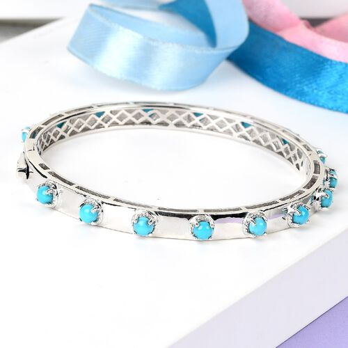 Arizona Sleeping Beauty Turquoise Bangle (Size 7) in Platinum Overlay Sterling Silver 3.69 Ct, Silver wt. 17.00 Gms