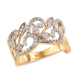 Diamond (Rnd) Ring in 14K Gold and Platinum Overlay Sterling Silver, Silver wt 3.10 Gms.