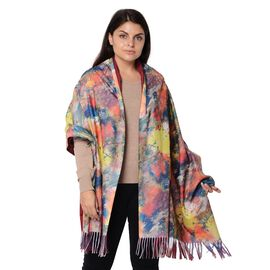 Reversible Digital Printed Scarf with Tassel (Size 70x180 Cm) - Wine and Multi