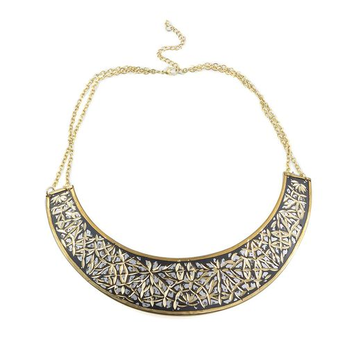 Jewels of India Embossed Pattern Brass Choker (Size 16 with Extender) and Cuff Bangle