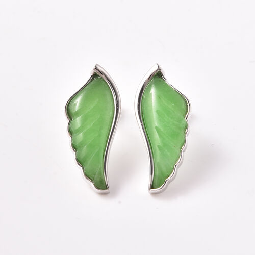 Isabella Liu Angel Wing Collection - Carved Green Jade Earrings (with Push Back) in Rhodium Overlay