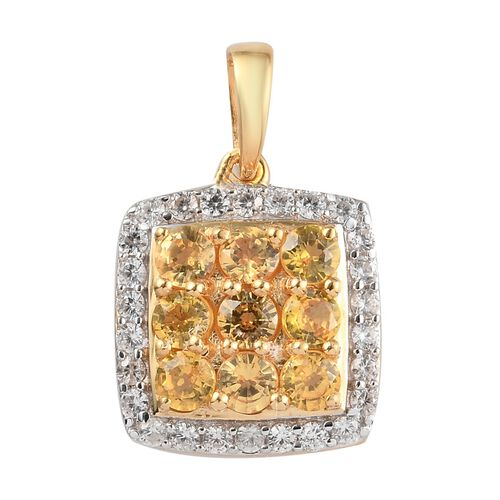 Yellow Sapphire and Natural Cambodian Zircon Cluster Pendant in 14K Gold Overlay Sterling Silver 1.5