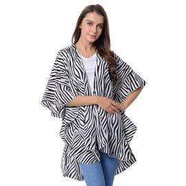 White Colour Stripe Pattern Falbala Sleeves Kimono (Size 96x70 Cm)