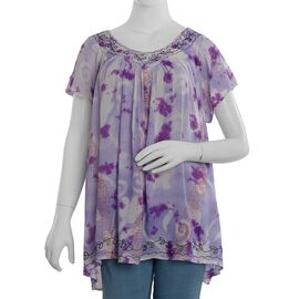 V Neck Tunic (Size 79x66cm) (One Size) - Purple Colour