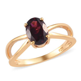Rhodolite Garnet Solitaire Ring in 14K Gold Overlay Sterling Silver  1.75 Ct.