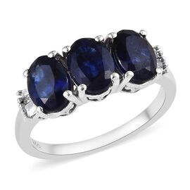 3.05 Ct Masoala Sapphire and Diamond Trilogy Ring in Platinum Plated Silver