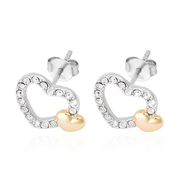 J Francis - Crystal from Swarovski White Crystal (Rnd) Heart Stud Earrings (with Push Back) in Two Tone Overlay Sterling Silver
