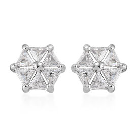 J Francis - Platinum Overlay Sterling Silver Floral Stud Earrings (With Push Back) Made With Swarovski Zirconia
