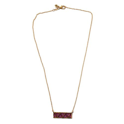 GP African Ruby and Blue Sapphire Necklace (Size 18) in 14K Gold Overlay Sterling Silver