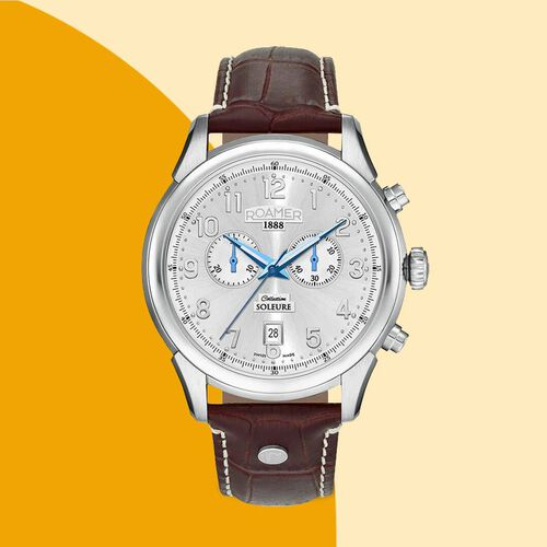 ROAMER Swiss Movement Water Resistant Watch in Stainless Steel with Chronograph Display and Brown Colour Strap