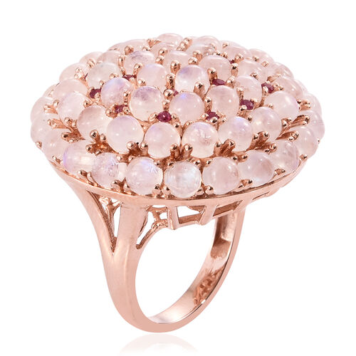 Sri Lankan Rainbow Moonstone (Rnd), African Ruby Floral Inspired Ring in Rose Gold Overlay Sterling Silver 17.500 Ct. Silver wt 14.47 Gms.