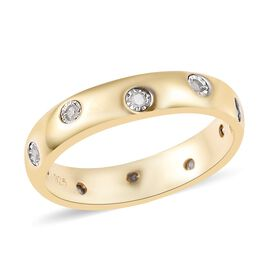Flush Set Diamond Band Ring in 14K Gold Plated Sterling Silver