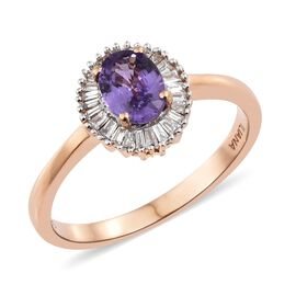 ILIANA 18K Rose Gold UnHeated AAAA Natural Purple Sapphire (Ovl), Diamond (SI/G-H) Ring 1.050 Ct.