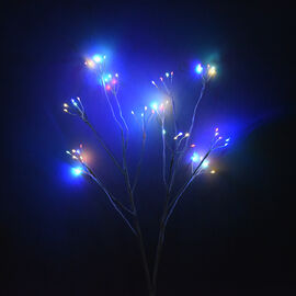 Set of 2 - 76cm Tall Tree with 60 LED Warm Lights - Multi Colour (3xAA Battery Not Included)