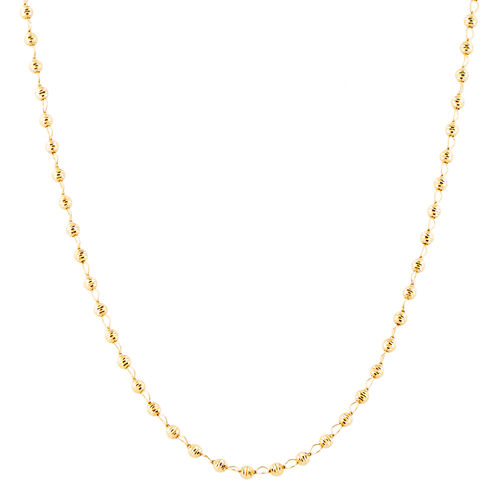 Italian Made - 9K Yellow Gold Diamond Cut Beads Necklace (Size 18 with 2 inch Extender), Gold wt 4.31 Gms.