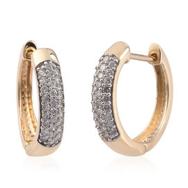Sundays Child- 9K Yellow Gold SGL Certified Diamond (I3/G-H) Huggie Hoop Earrings (with Clasp) 0.50