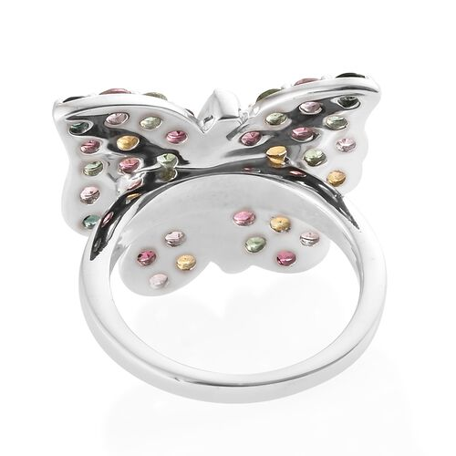 Rainbow Tourmaline (Rnd), Natural Cambodian Zircon Butterfly Ring in Platinum Overlay Sterling Silver 2.250 Ct. Silver wt 5.92 Gms.