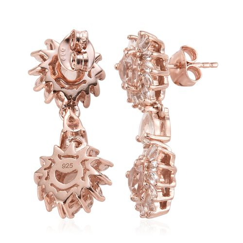 Marropino Morganite (Hrt), White Topaz Earrings (with Push Back) in Rose Gold Overlay Sterling Silver 3.750 Ct.