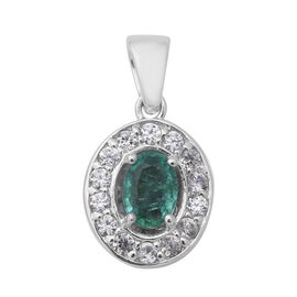 1.47 Ct Zambian Emerald and Zircon Halo Pendant in Rhodium Plated Silver