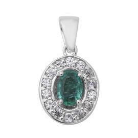 Zambian Emerald (Ovl), Natural White Cambodian Zircon Pendant in Rhodium Overlay Sterling Silver 1.4