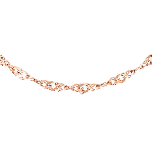 Close Out Deal- Rose Gold Overlay Sterling Silver Diamond Cut Singapore Chain (Size 30).Silver Wt 3.30 Gms