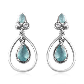 1.40 Ct Grandidierite and Zircon Drop Earrings in Platinum Plated Sterling Silver with Push Back