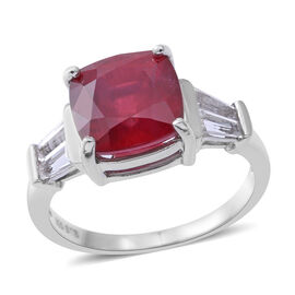 African Ruby (Cush 6.65 Ct), White Topaz Ring in Rhodium Plated Sterling Silver 7.500 Ct.